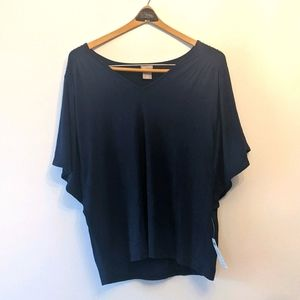 Chico's Navy Blue Flutter Sleeve Top 2 L
